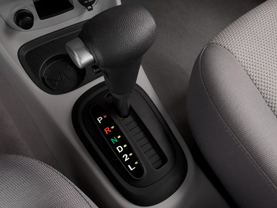 inside view of hyundai accent with automatic gearbox