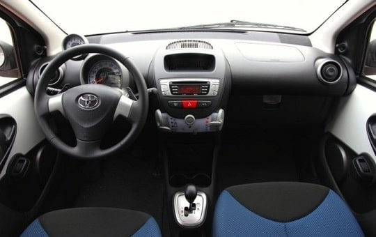 Toyota Aygo with automatic transmission interior