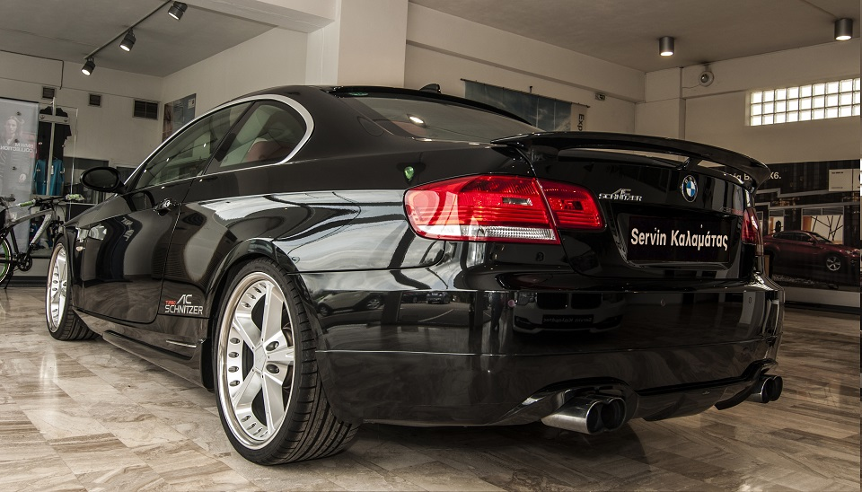 rear full view of upgraded bmw 335 in servin kalamatas showroom