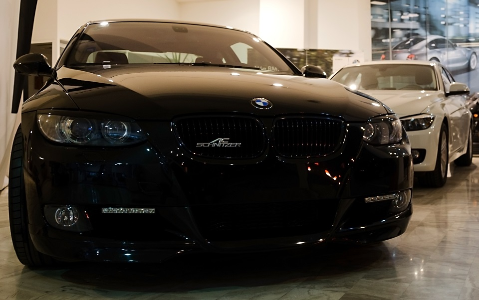 front full view of upgraded bmw 335 in servin kalamatas showroom